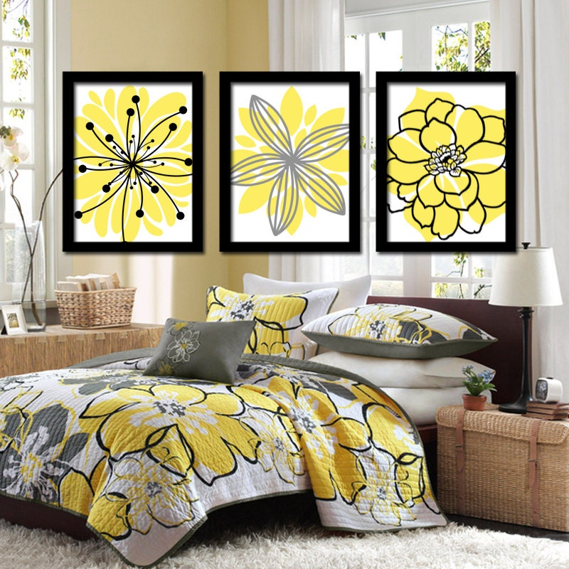 Bedroom Wall Art Grey: Yellow Black Wall Art CANVAS Or Prints Charcoal Gray Flower
