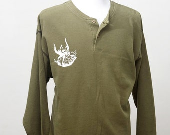 Men's Medium Upcycled Henley with Screen Printed Viking