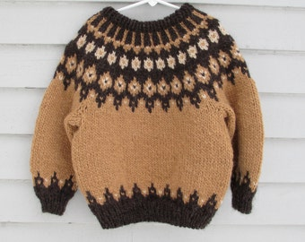 Icelandic Sweater, Childs 6 8, Handknit from Brown Wool,