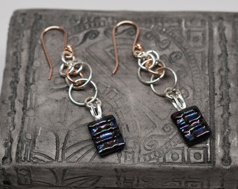 Sterling silver & rose gold filled dichroic glass chainmaille dangle earrings