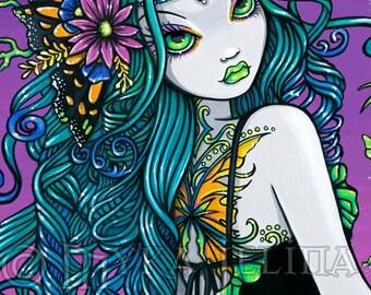 Mariposa Rainbow Sunset Butterfly Tattoo Fairy Canvas ACEO CU