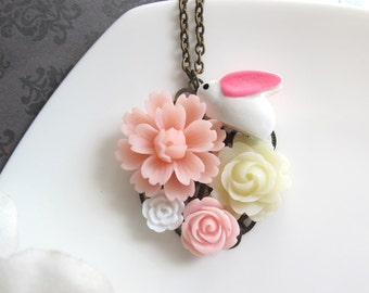 White Bunny Rabbit with Pink Ears, Light Pink Blossom and Rose, Ivory Rose and White petite Flower. Collage Flower Necklace Bridal Jewelry