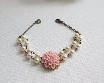 Spring Floral Bracelet. Blush Pink Dahlia. Big flower. Swarovski Pearls Antiqued Brass Bracelet. Floral Bridesmaid Bridal Wedding Jewelry