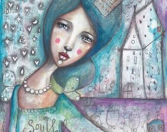 Soulful Princess With Owl- Art Print