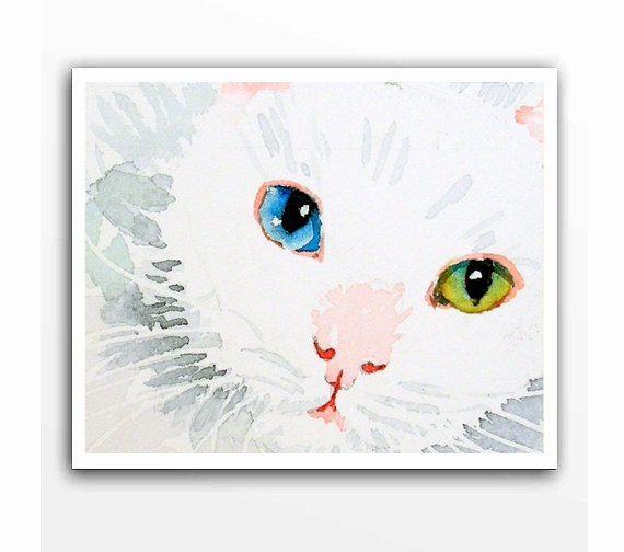 Cat Art White Cat Watercolor Painting Giclee Print By Laberge