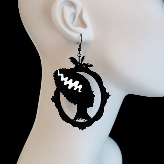Bride of Frankenstein Silhouette Earrings - Laser Cut Acrylic Earrings (C.A.B. Fayre Original Design)