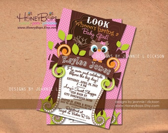 Owl Invitation Birthday, Baby Shower, Event Boy or Girl Custom Invitation - Digital uPrint File