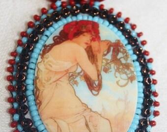 Lovely Lady Goddess Pendant on Beadwoven Necklace