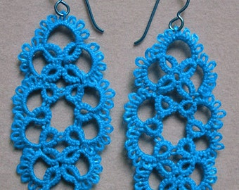 large electric blue tatted earrings, tatting jewelry, hypoallergenic, lightweight, clip on option, lace earrings