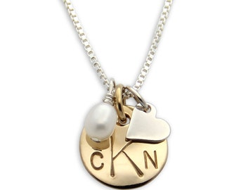 Gold Hand Stamped Necklace- personalized monogram necklace. Custom Jewelry. Petite Charm Necklace. Personalized Necklace by jenny present.