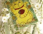 The Marigolds are Lucky Today Maneki Neko Tabby Cat with Ladybug Earrings and Accompanying ACEO Print