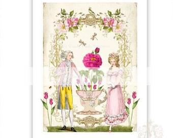 Marie Antoinette, print, French couple, high tea, vintage teacup, vintage style illustration, home decor, wall art, pink, romantic art