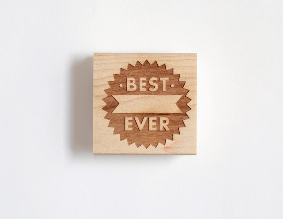 Best Ever Rubber Stamp, Large Fill in the Blank Modern Typographic Design (Wood Mounted) DIY Cards, Stationery, Weddings, Awards (S300)