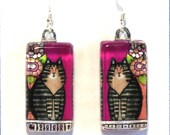 Maine Coon Cat Earrings/ Brown Tabby on Fuchsia Pink/ Glass Jewelry by Susan Faye