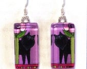 Black Cat Earrings/ Longhair Persian Kitty Handcrafted Jewelry by Susan Faye