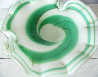 Vintage Murano Glass Ashtray Dish- Aqua Green Swirl Encased Art Glass - 3 Pound Estate Find