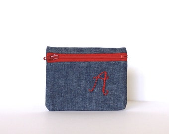 Personalized Embroidered Coin Pouch