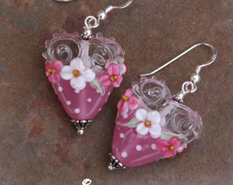 Pretty in Pink Floral Heart Garden SRA Lampwork DeSIGNeR EaRriNgs So Pretty Perfect for Valentines Day
