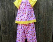 SALE!   Ready to Ship..  Pink Princess Ruffle pants and Top outfit, Size 4/5,
