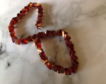ON SALE! Galaxy Cut Glass Beads, Red and Gold, 8mm. One strand. Destash