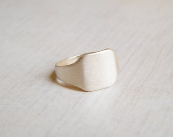 Silver Square Ring, Sterling Silver Signet Ring, Womens Signet Ring