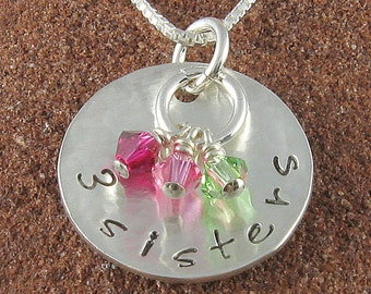 Two Sisters,Three Sisters or Four Sisters Sterling Silver Pendant with Swarovski Birthstone Crystals