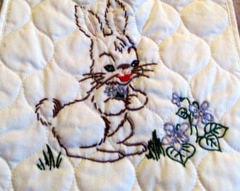 Hand Embroidered-Quilted Bunny Rabbit Bib