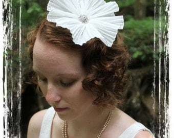 Pleated Chiffon bridal white flower veil hat