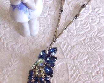 Aurora Borealis & Midnight Blue Repurpose Vintage Rhinestone Pendant Necklace