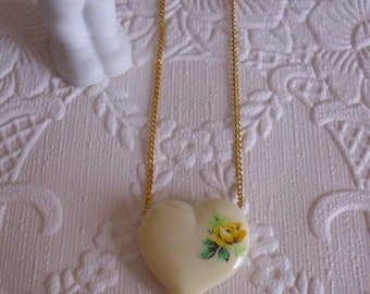 Yellow Rose Heart Vintage Pendant Necklace