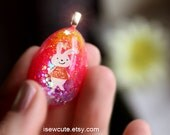 Girls Easter Necklace, Easter Basket Gift Idea, Girls Jewelry, Easter Egg Necklace, Easter Bunny Tin, Cute Bunny Handcrafted isewcute