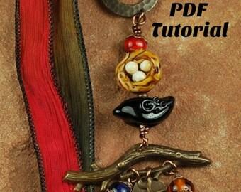 Blackbird Pendant Tutorial Pendant, Tutorial, Beaded Tutorial 859 by CC Design