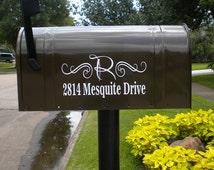 One Mailbox Decal, custom address sticker with initail