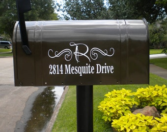 One Mailbox Decal, custom address sticker with initial, elegant mailbox, fancy mailbox, mailbox stickers, moving gift, new home, first place