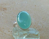 Cocktail ring,  Aqua Chalcedony ring,  Chalcedony cocktail ring, Oval Aqua Chalcedony Gemstone ring, statement ring