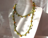 Crocheted Wrap Necklace-- Apple Green Cotton & Orange, Gold, Pastel Yellow, Pastel Aqua, and Olivine Green Beads