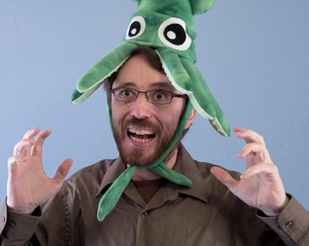 Plush Squid Hat - Small Green Tie-Dye Fleece