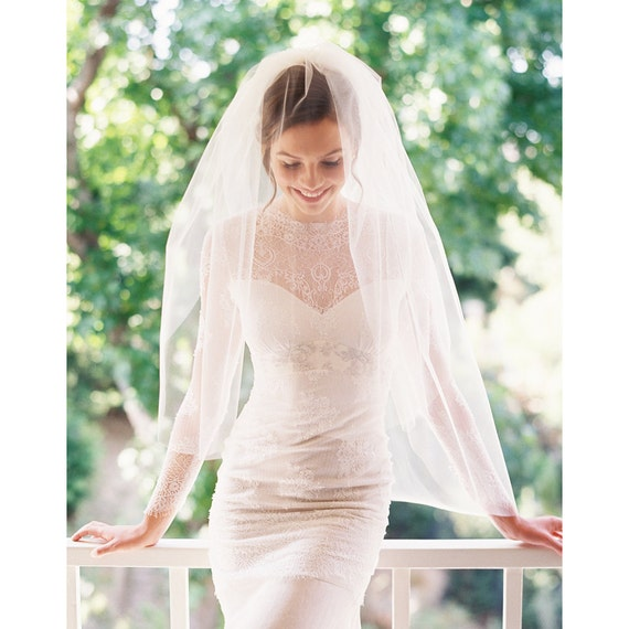 Bridal veil, fingertip veil, wedding veil, tulle blusher veil- Style 1943