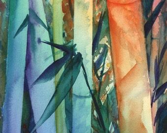 Kauai Rainbow Bamboo 2 5x7 art print from Kauai Hawaii blue teal orange