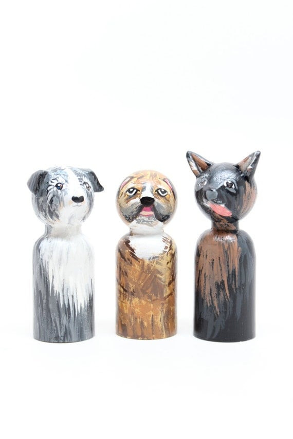 Wooden Dolls Custom Dog Goose Grease Personalized Pet Portrait Peg Dolls Hand-painted Cake Topper Custom Portrait Cake Toppers