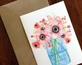 Mason Jar Bouquet Watercolor Greeting Card