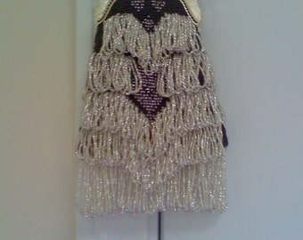 Silver on Black Bead Knitted Bag