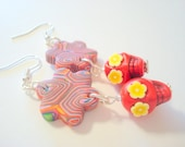 Red and Yellow Day of the Dead Sugar Skull and Flower Earrings