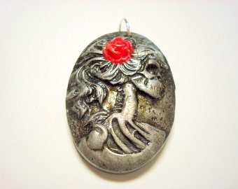 Black and Silver Red Rose Lolita Day of the Dead Pendant