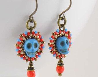 Beadwoven Small Calavera Earrings/ Turquoise Hued Skulls/ Niobium/ Hypoallergenic/ Coral Orange/ Beige/ Antique Brass/ Vibrant - - - Serena