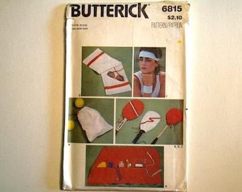 Butterick 6815 Pattern UNCUT Sportswear Package. Ball bag, Racquet Covers, Accessory Case, Wristbands, Headbands, Towel.  Factory Folded.