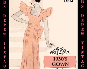 Vintage Sewing Pattern 1930's Evening or Wedding Gown in Any Size- PLUS Size Included- Depew 1053 -INSTANT DOWNLOAD-