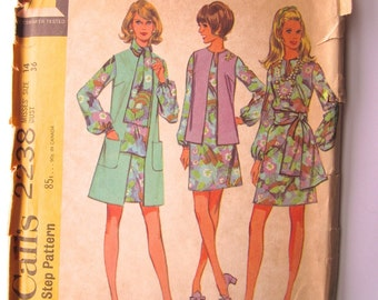 Vintage Sewing Pattern 1970's Ladies' Dress, Tunic and Trousers McCall's 2238 - With FREE Pattern Grading E-book