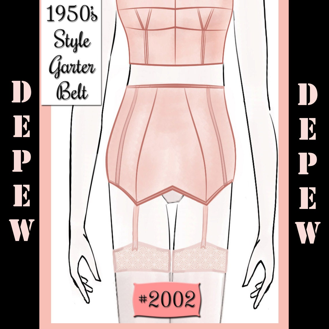 Vintage Sewing Pattern French 1950's Pin Up Corset Garter