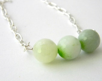 Lime Green Agate Chain Necklace 19 Inch